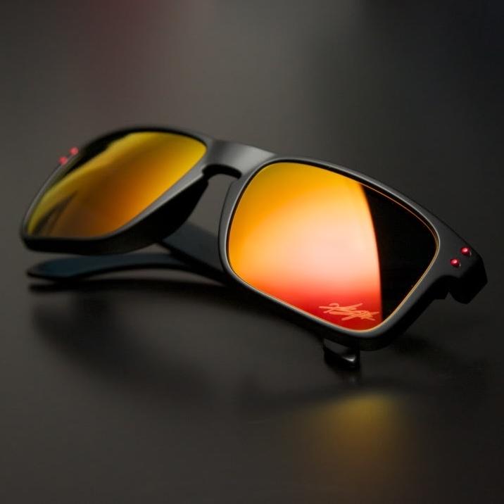 7bc1f05e9 óculos De Sol Estilo Oakley Holbrook - Armação Preta Com Lente Laranja